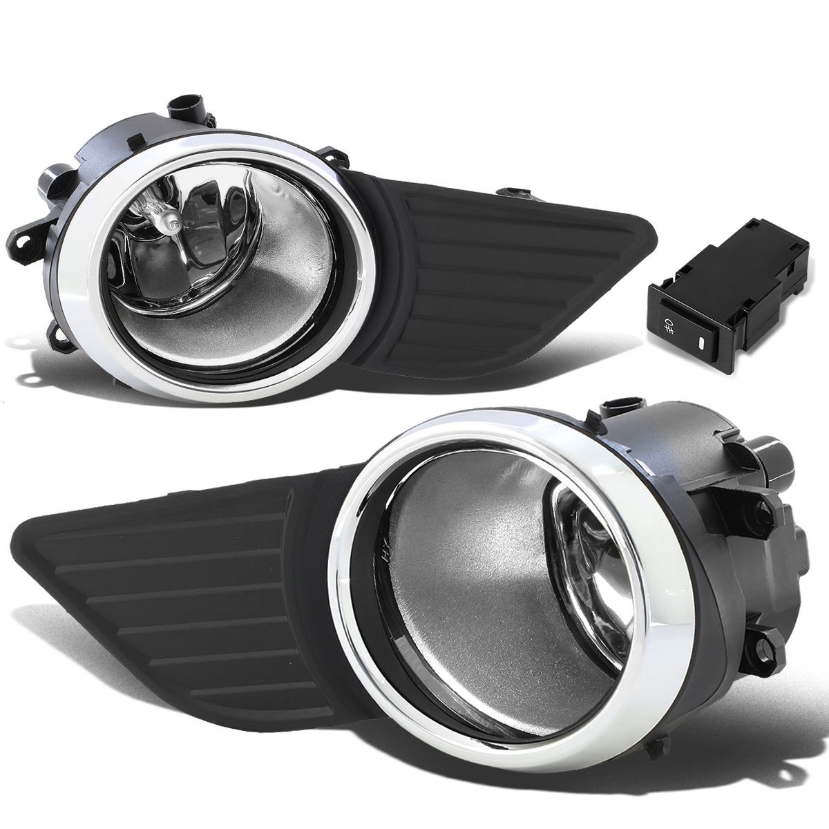 For 11-17 Toyota Sienna Pair Driving Bumper Fog Light/Lamp+Bezel+Switch Chrome Ring Clear Lens 12 13 14 15 16