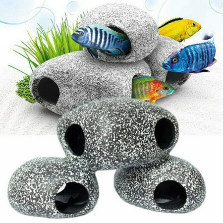 Cichlid Stone Decoration - Large Aquarium Rock - Fish Tank Hideaway Decor for African
