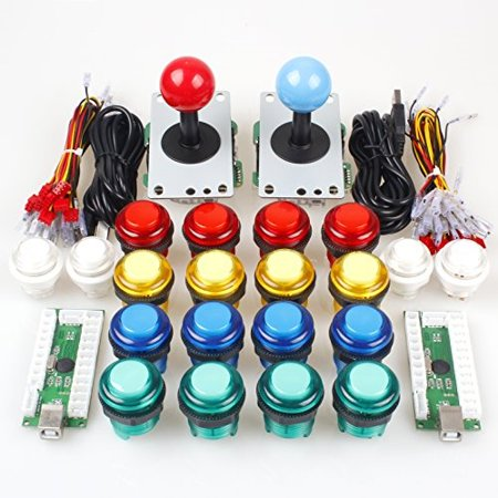 EG STARTS Classic Arcade DIY Kit Parts 2x USB LED Encoder To PC Consols  Games + 2x 4/8 Ways Joystick + 20x 5V Illuminated Push Buttons For Mame  Jamma