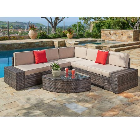 SUNCROWN Outdoor Furniture Sectional Sofa & Wedge Table (6-Piece Set)  All-Weather Brown Wicker with Washable Seat Cushions & Modern Glass Coffee  Table ...