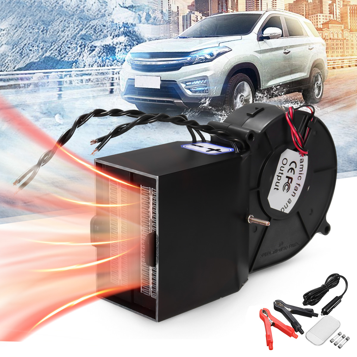 Portable Adjustable 300w 500w Ceramic Car Fan Heater