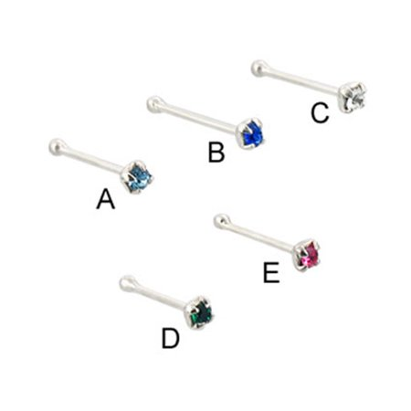Sterling Silver Nose Bone With 2Mm Gem, 20 Ga,Blue  - B (Bone Sterling Silver Nose Bone)