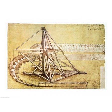 Excavating Machinefrom Codex Atlanticus Poster Print By Leonardo Da Vinci  24 X 18