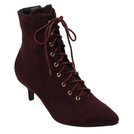 Beston Ej72 Womens Chic Lace Up Side Zipper Ankle High Kitten Heel Booties