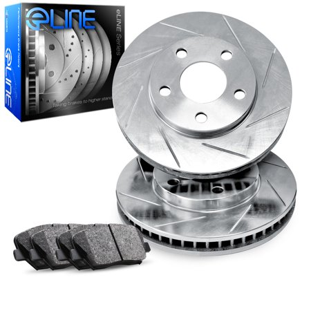 1986 1987 1988 1989 Ford Taurus Front eLine Slotted Brake Disc Rotors & Ceramic Brake Pads