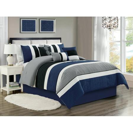7 Pc Archer Diamond Hexagon Embossed Pleated Stripe Comforter Set Blue Gray White Black Queen