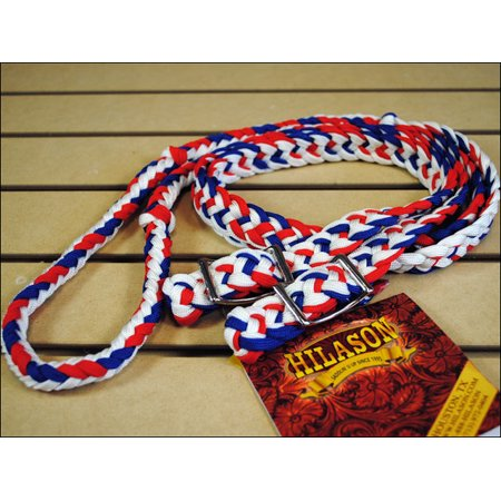 HILASON WESTERN TACK HORSE BRAIDED POLY BARREL REIN RED WHITE