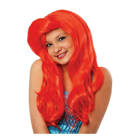 Ariel Girls Wig The Little Mermaid Child Youth Red Long Disney Princess Movie (Long Red Wigs Halloween)