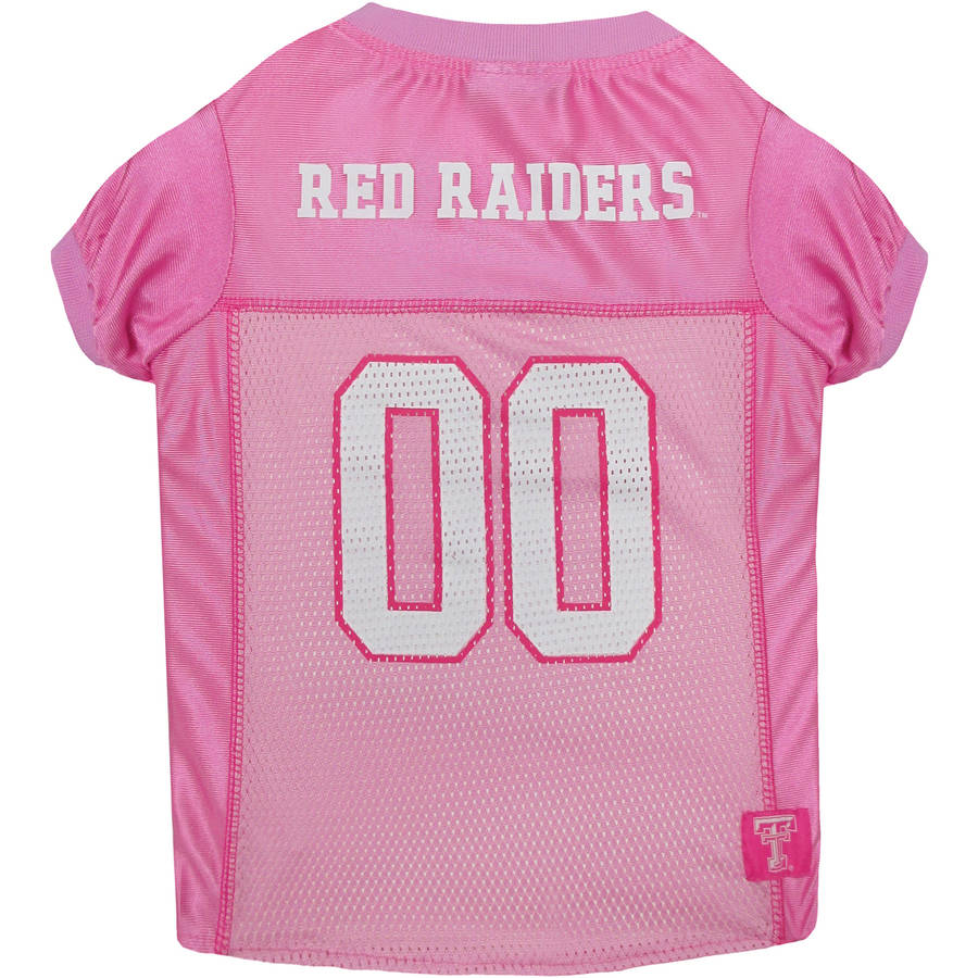 Pets First College Texas Tech Raiders Pet Pink Jersey, 4 Sizes Available