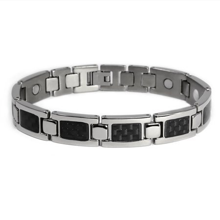 Men's Quad-Element Polished Silver Titanium Magnetic Bracelet with Carbon Fiber Inlays - 12,800 Gauss - Carbon Fiber Stainless Magnetic Bracelet
