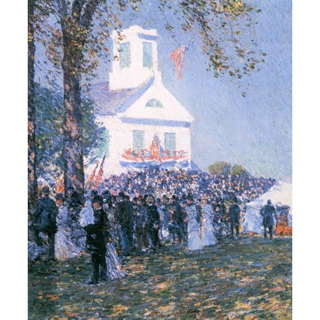 Framed Art for Your Wall Hassam, Childe - Harvest Festival in a village in New England 10 x 13 Frame - Halloween Harvest Festival Nyc