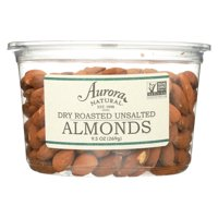 Aurora Natural Products - Dry Roasted Unsalted Almonds - Case of 12 - 9.5 oz.