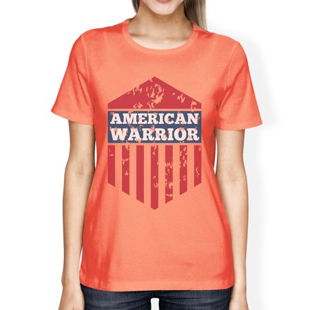 American Warrior Tee Womens Peach Short Sleeve T-Shirt Gift For (American Patch)
