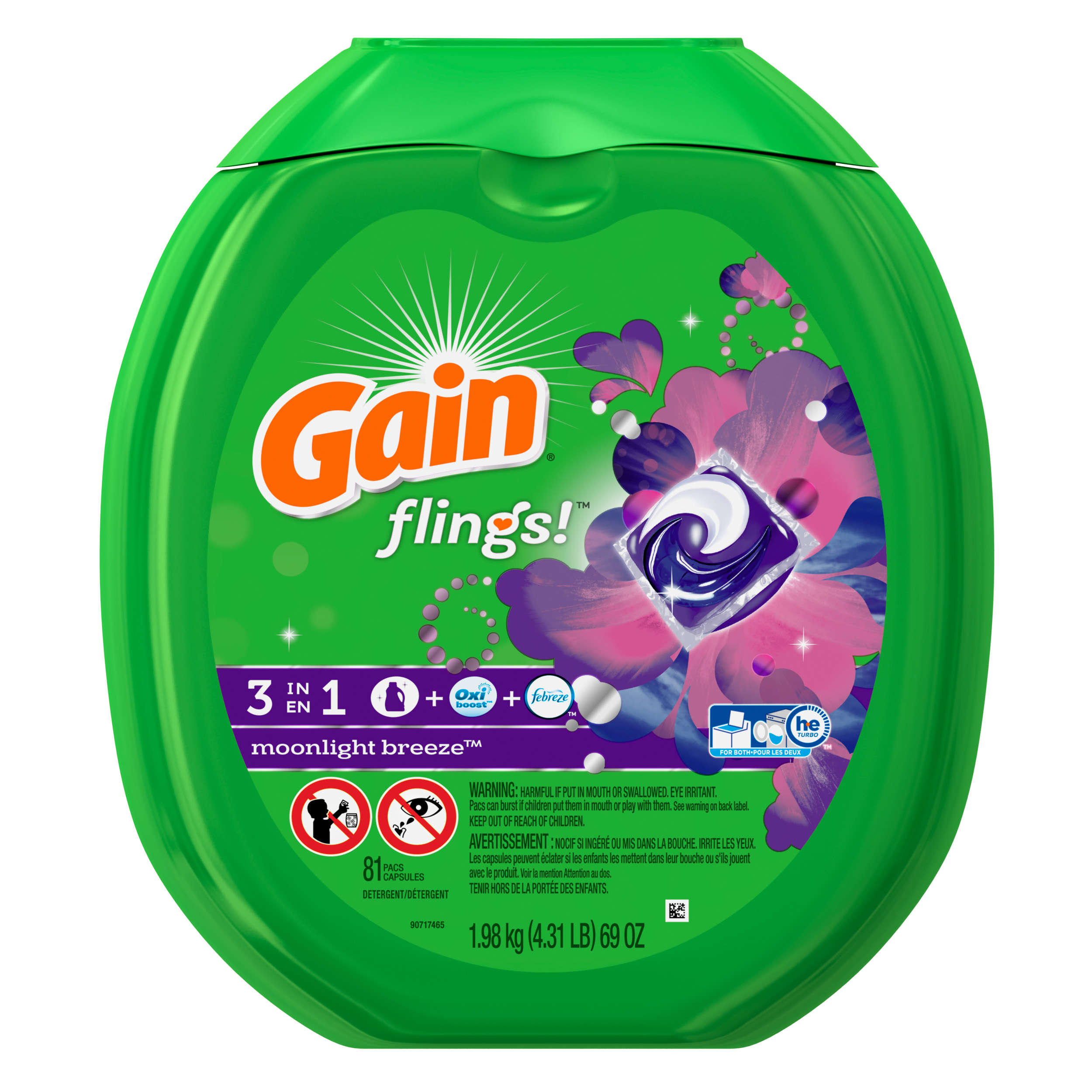 Gain Flings Laundry Detergent Pacs, Moonlight Breeze Scent, 81 Count