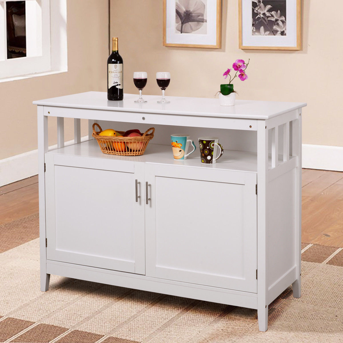 Amazing Costway Modern Kitchen Storage Cabinet Buffet Server Table Sideboard Dining  Wood White