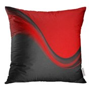 ECCOT Colorful Bright Red and Black Contrast Smooth Waves Corporate Abstract Color Pillow Case Pillow Cover 18x18 inch