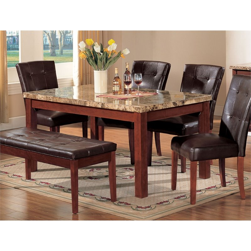 ACME Bologna Dining Table in Brown and Brown Cherry