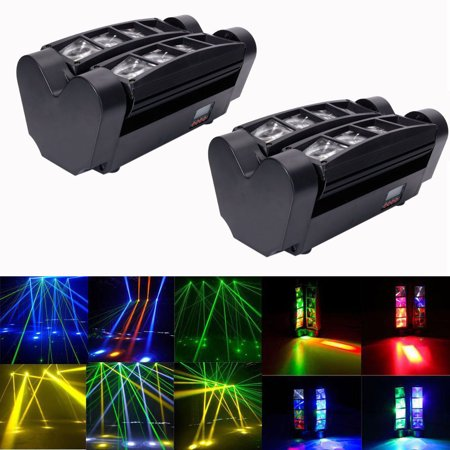 Zimtown 2pcs LED Spider Moving Head Light RGBW 4 in 1 Beam DMX Stage Disco DJ Lighting Spotlight Track -