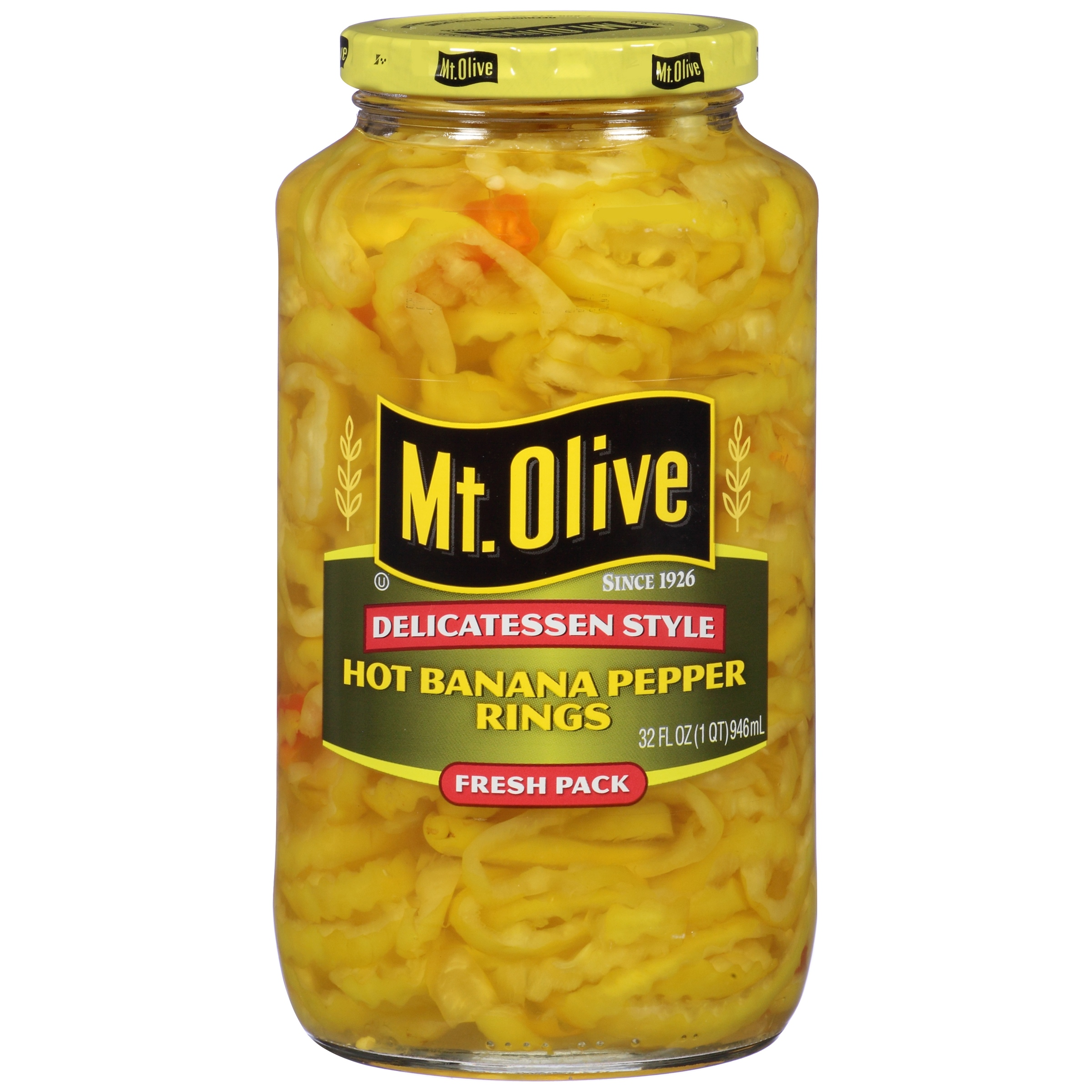 Mt. Olive Delicatessen Style Hot Banana Pepper Rings, 32 oz