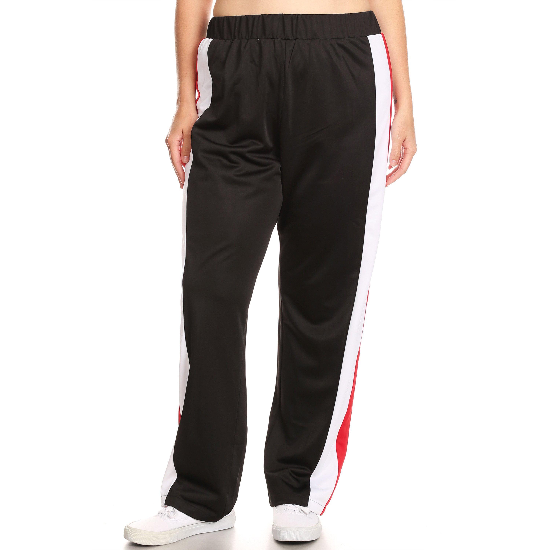 Xehar Women's Plus Size Colorblock Side Seam Casual Detail Pants