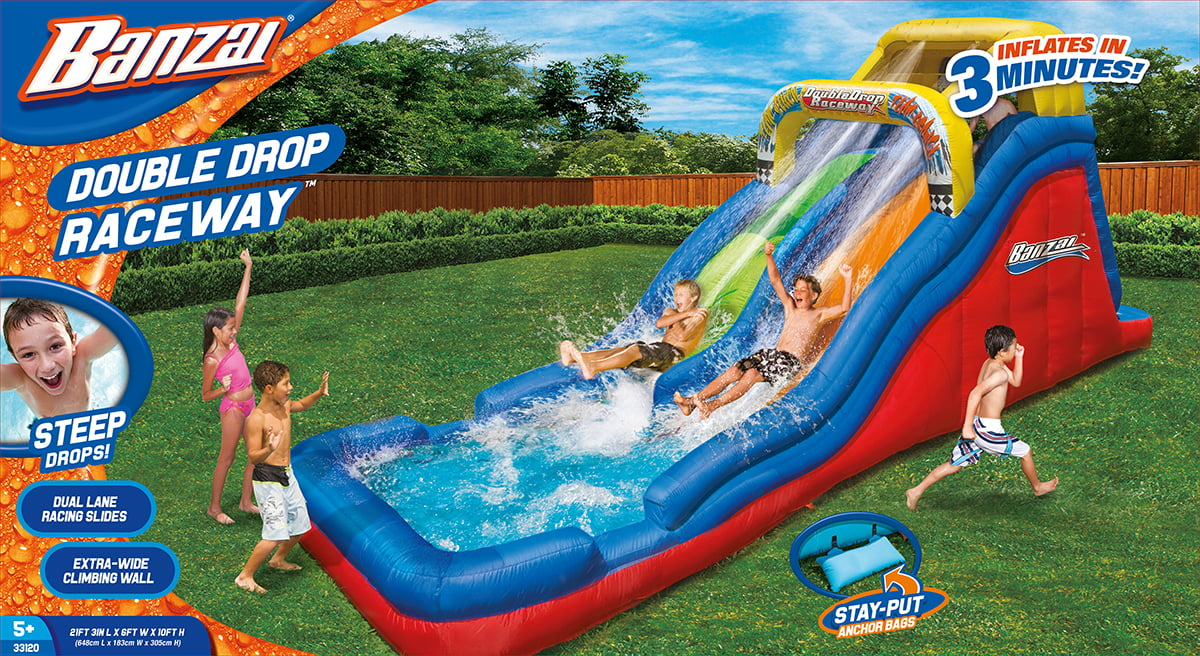 Click here to buy Banzai Double Drop Raceway (Inflatable Racing Waterslide and Splash Pool) by Banzai.
