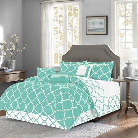 7-Piece Reversible Geometric Galaxy Comforter Set Oversized Turquoise - Queen Size ()