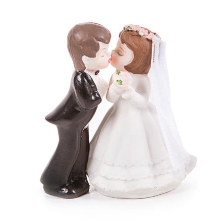Kissing Bride and Groom Cake Topper: Porcelain - 4 - Kisses Toppers