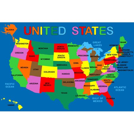 Kids Usa Map.Kids Rug Usa Map 4 X 6 Children Area Rug For Playroom Nursery