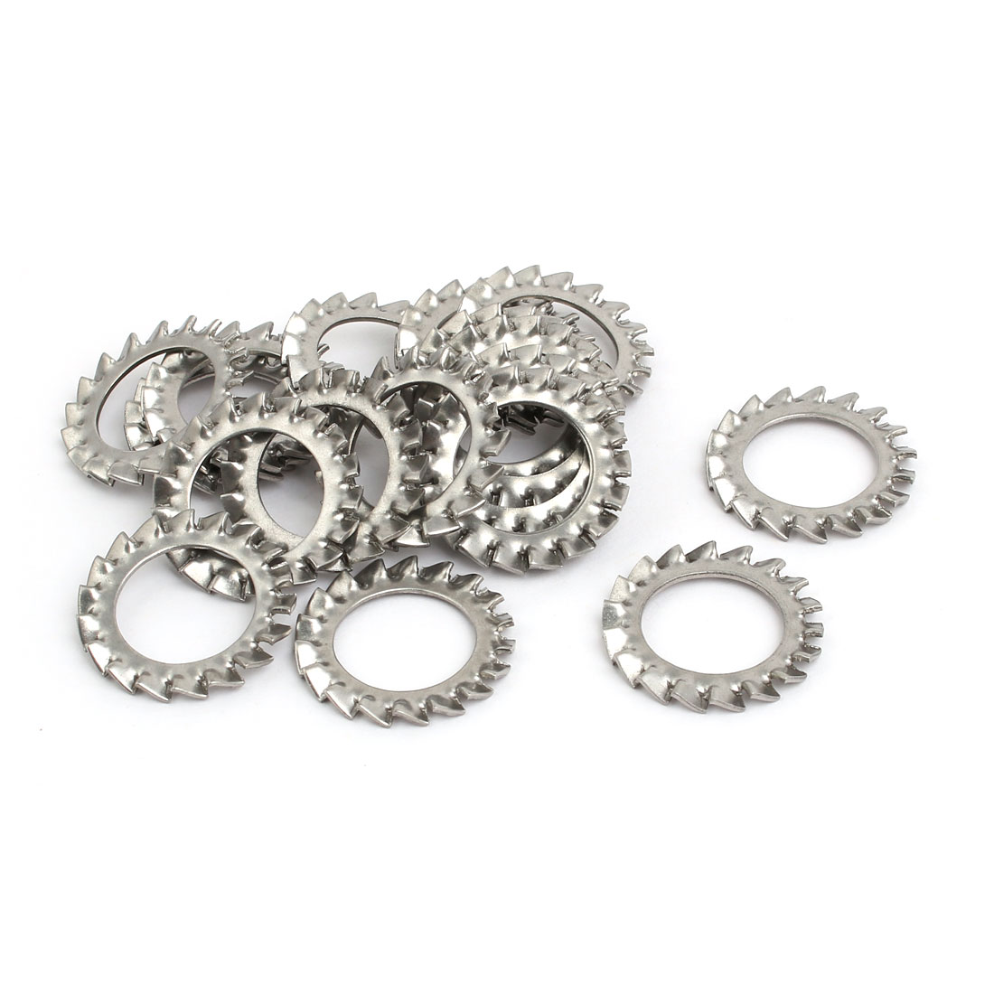 16mm Inner Dia 304 Stainless Steel External Tooth Lock Washer Silver Tone 20pcs