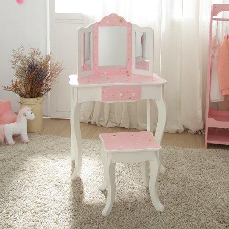 Teamson Kids - Fashion Twinkle Star Prints Gisele Play Vanity Set - Pink / White ()