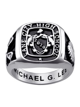 Personalized Men's Celebrium Crest Square Signet Class Ring