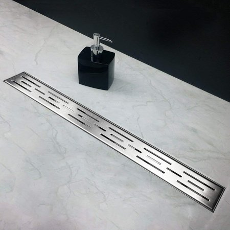 Neodrain 28 Inch Rectangular Linear Shower Drain with Brick Pattern Grate, Brushed 304 Stainless Steel
