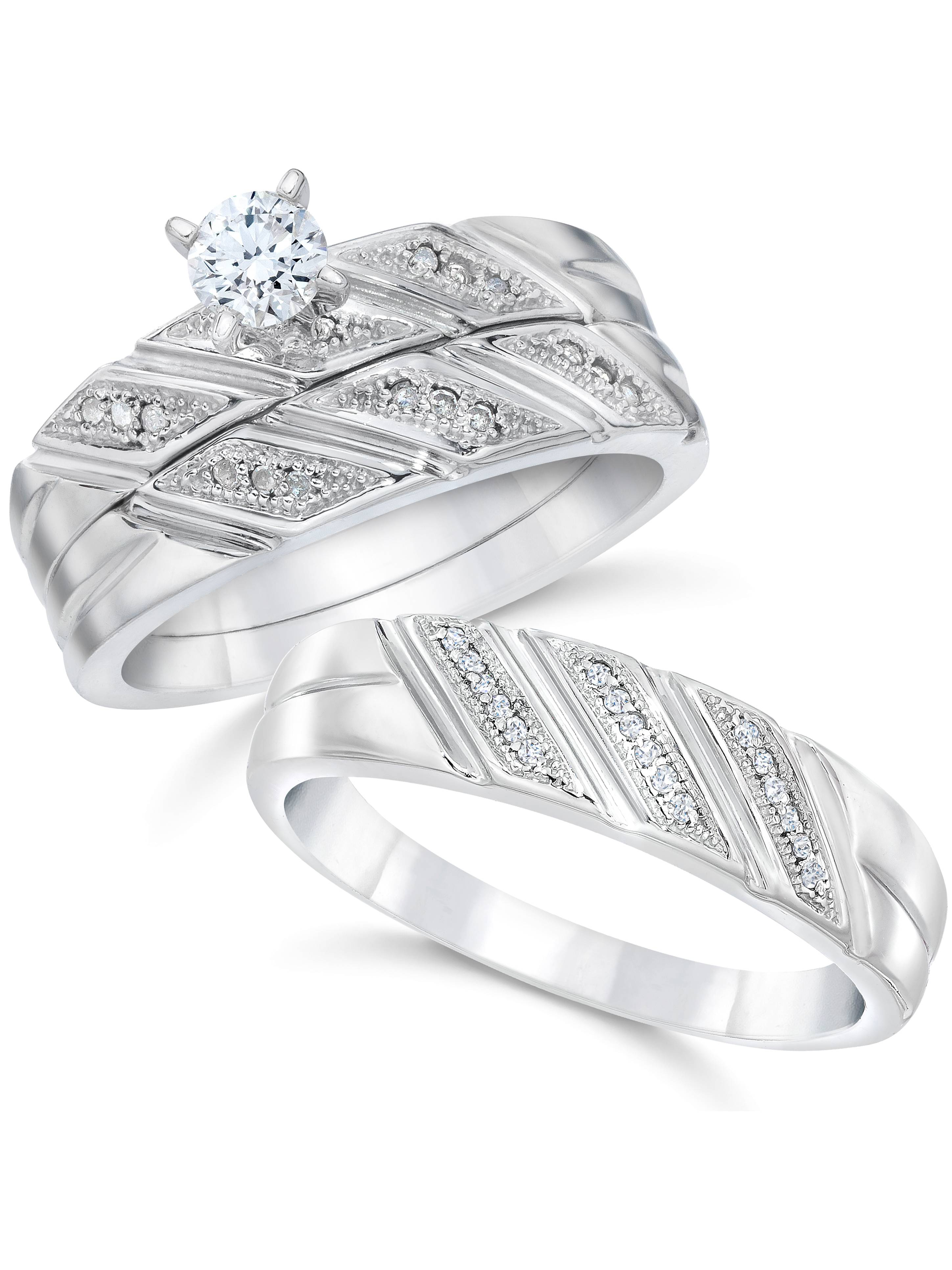 1/3ct His Hers Diamond Trio Engagement Matching Mens Wedding Ring Set White Gold