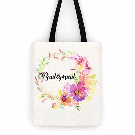 Bridesmaid Fl Wedding Cotton Canvas Tote Bag School Day Trip