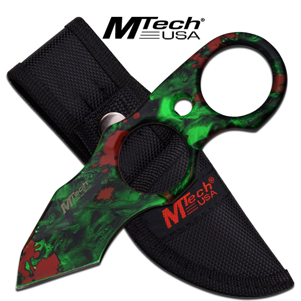 FIXED BLADE TACTICAL KNIFE | Mtech Green Skull Zombie Tanto Blade Mini Tactical
