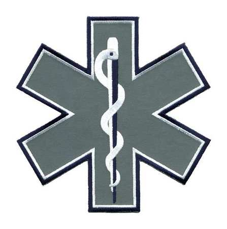 HEROS PRIDE 4818 Embroidered Patch, Star of Life, Navy/Wht