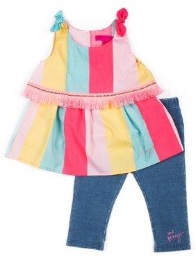 Betsey Johnson Toddler Girls Stripe Denim Capri Set