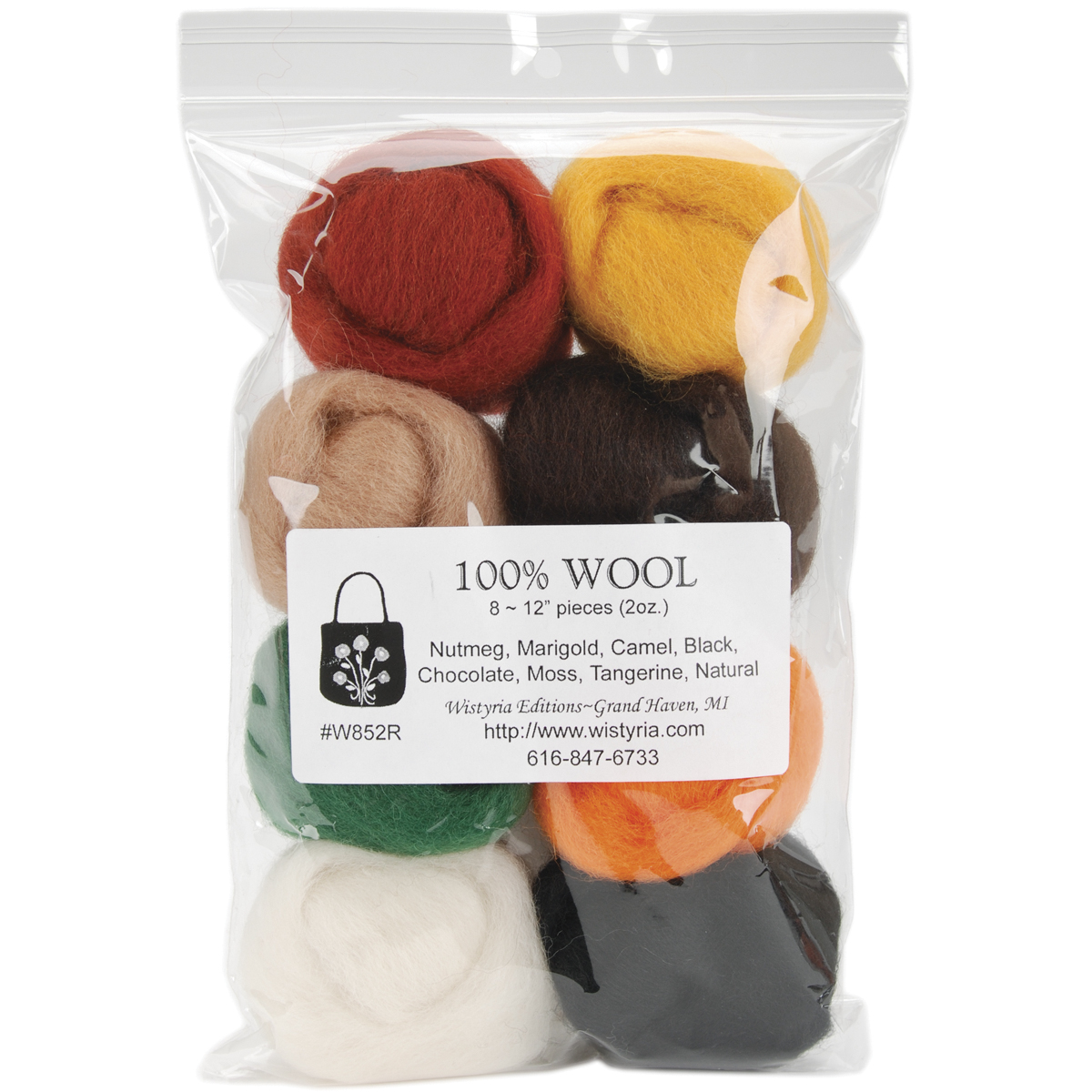 "Wistyria Editions Wool Roving, 12"" long; 2-ounce, 8-color, Bold"