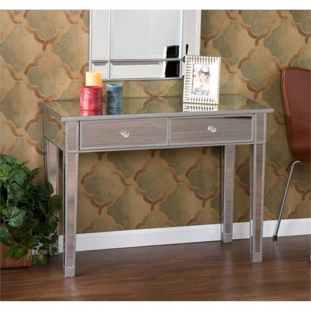 Pemberly Row Mirrored 2 Drawer Console Table In Silver Wood Trim