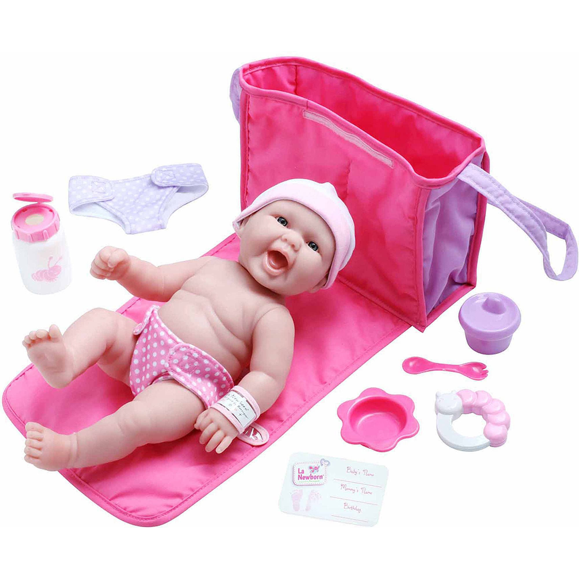 "La Newborn 13"" Life-Like All-Vinyl Baby Doll Diaper Bag and Accessory Gift Set"