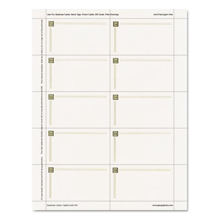 - Capital Gold Design Business Cards, 3 1/2 x 2, 65 lb Stock, Ivory,150/Pack