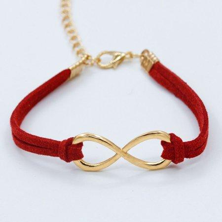 Women Trendy Infinity Symbol Leather Wristband Multilayer Bracelet -