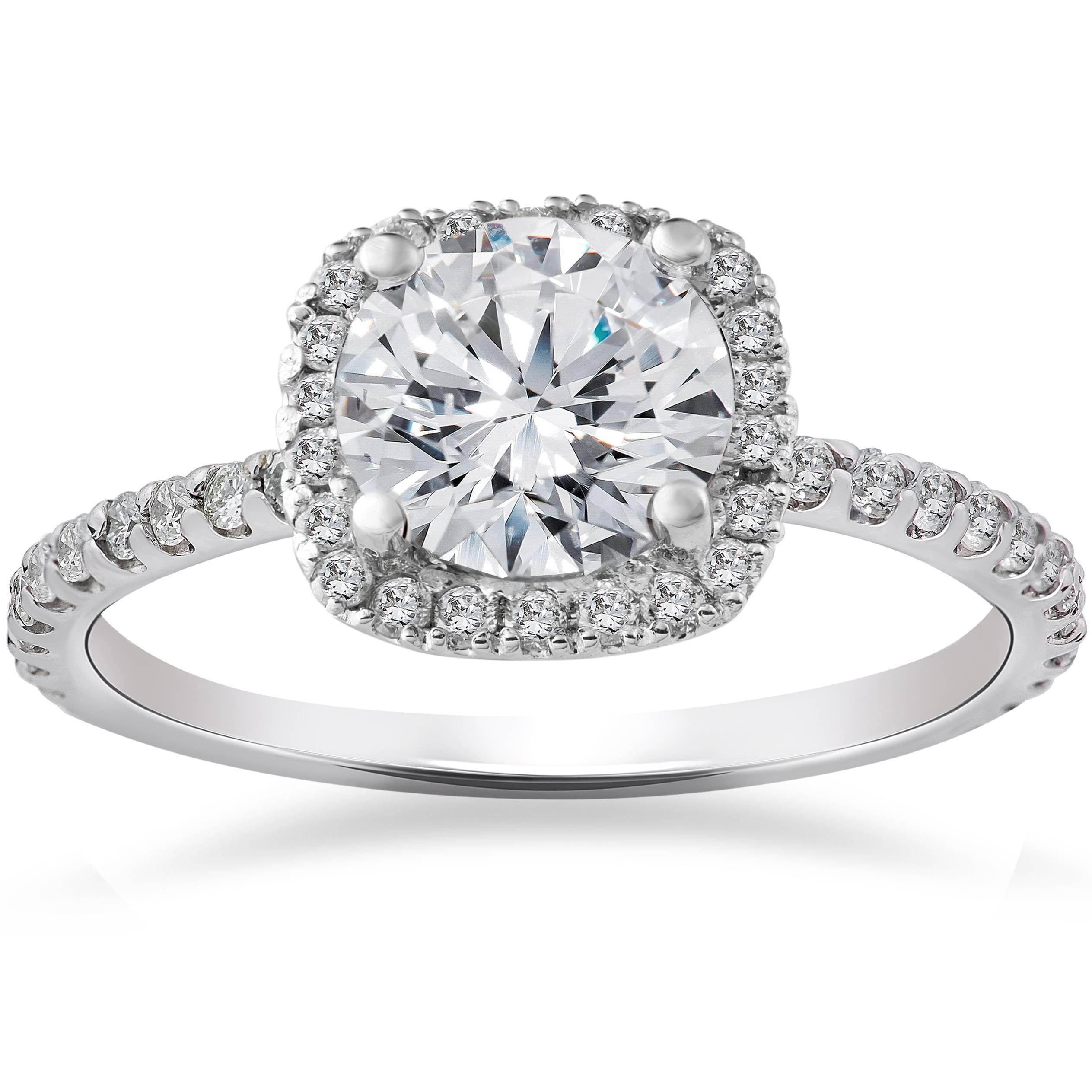 FG SI 2 Carat Cushion Halo Enhanced Diamond Engagement Ring 14K White Gold by Pompeii3
