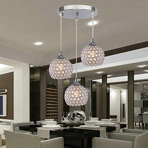 Dingguâ 3 Lights Modern Crystal Ball Pendant Light Fixture Flush Mounted Ceiling Chandelier