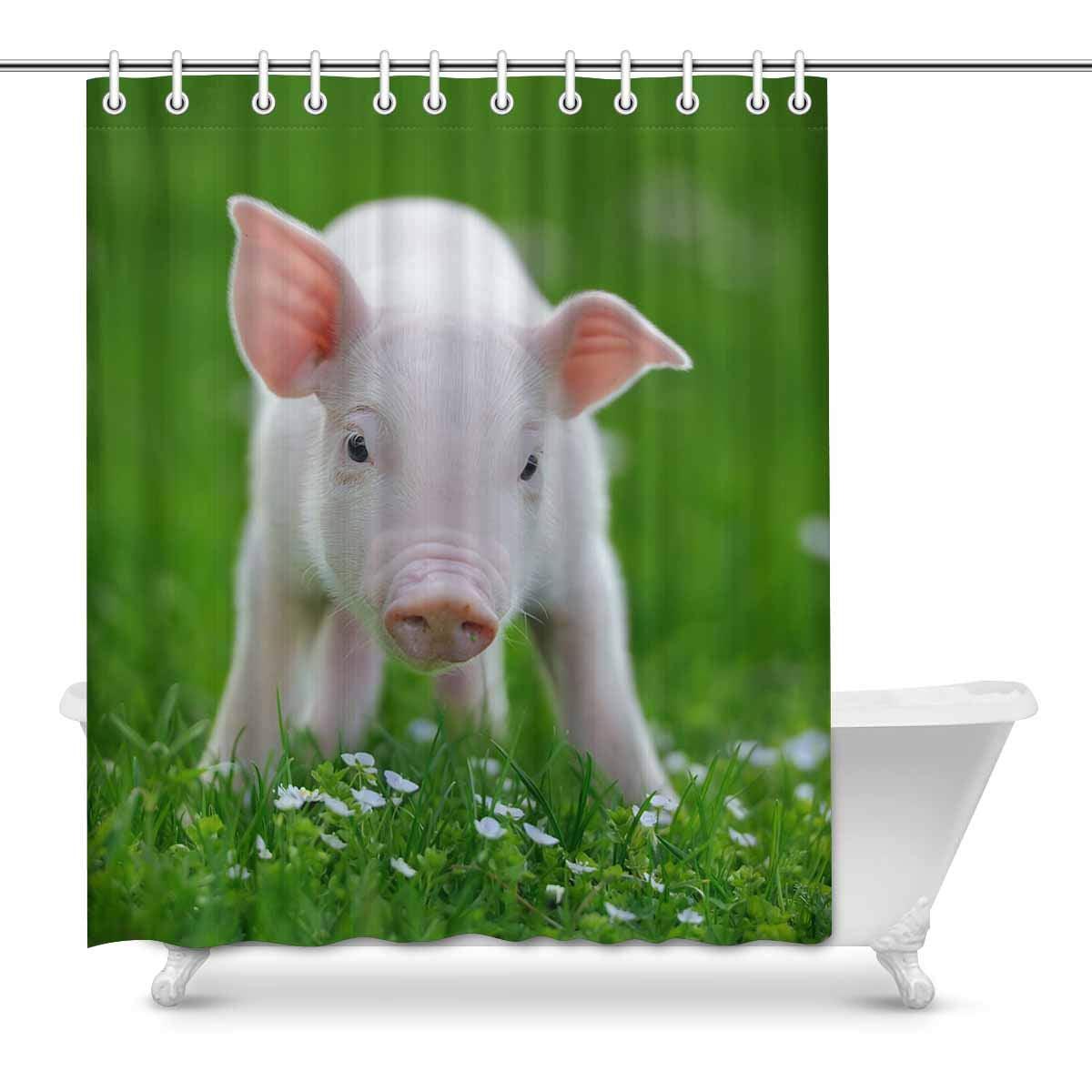 Flower Pig Waterproof Bathroom Polyester Shower Curtain Liner Water Resistant