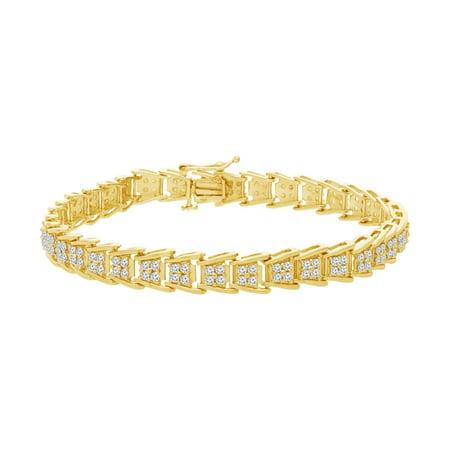 Tdw White Diamond Bracelet (Sterling Silver 2.00 ct. TDW Rose-Cut Diamond Fan-Shaped Tennis Bracelet (I-J,)