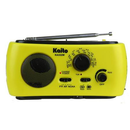 Kaito Ka332w Portable Hand Crank Solar Am Fm Noaa Weather Radio With 3 Led Flashlight   Yellow