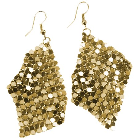 Womens 70's Hippie Disco Drop Gold Sequin Earrings Costume - Disco Accessories