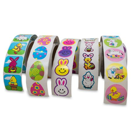 Set of 5 Rolls with 500 Easter Stickers