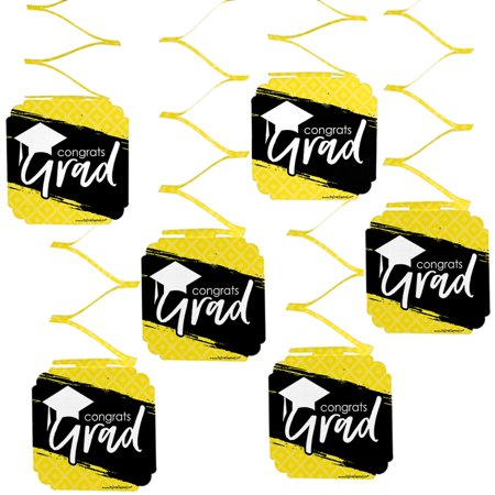 Yellow Grad - Best is Yet to Come -  Yellow Graduation Party Hanging Decorations - 6 Count - Black And Yellow Graduation Decorations